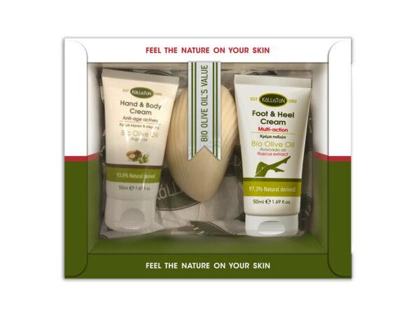 0029.01 - KL1362 Gift box with hand & body cream 50ml + foot & heel 50ml + soap 60gr